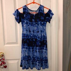 NWOT- Blue Cold Shoulder Dress